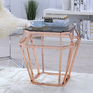 Myron Glass End Table by Everly Quinn