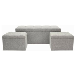 Darby Home Co Fason Upholstered Storage Bench and Ottoman (Set of 3)