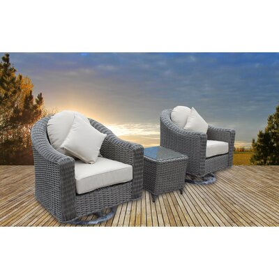 Bayou Breeze Geddes 3 Piece Sunbrella Conversation Set with Cushions  Frame Color: Gray