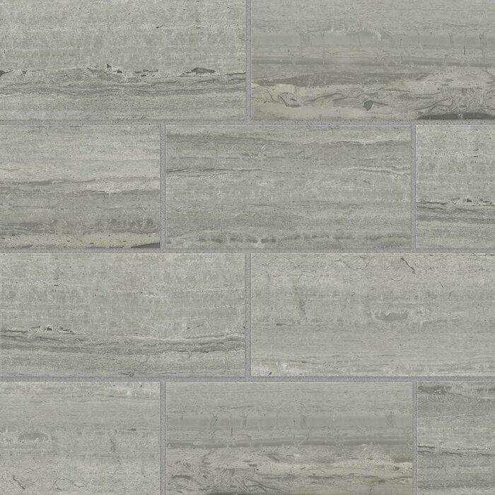 12 X 24 Porcelain Field Tile In Travertino Grigio