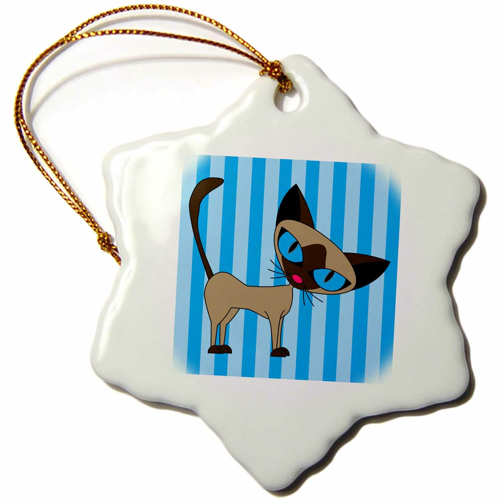 The Holiday Aisle Cute Siamese Cat Design Holiday Shaped Ornament Wayfair