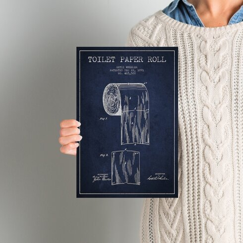 Trent austin design toilet paper navy blue patent blueprint graphic toilet paper navy blue patent blueprint graphic art on wrapped canvas malvernweather Image collections