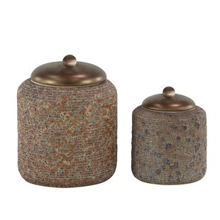 Rustic Textured Stoneware 2 Piece Storage Jar Set
