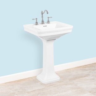 Price comparison Ceramic 24 Pedestal Bathroom Sink with Overflow ByWinfield products