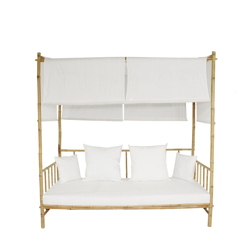 Eoin Bamboo Patio Daybed with Cushions