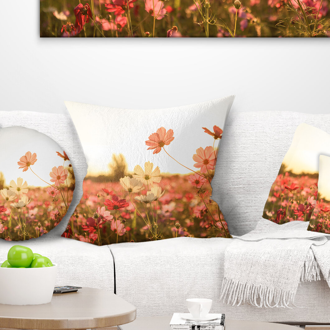 East Urban Home Floral Cosmos Flowers On Sunset Background Throw Pillow Wayfair