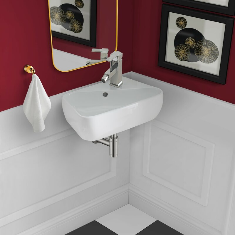 """swiss madison voltaire ceramic 18"""" specialty wall mount bathroom sink with overflow & reviews"""