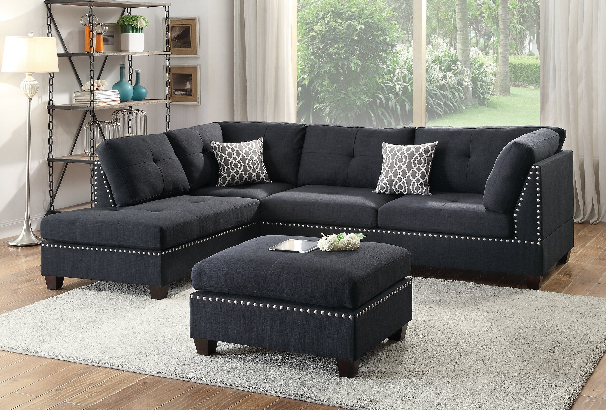 Super Aj Homes Studio Tammy Reversible Sectional With Ottoman Pabps2019 Chair Design Images Pabps2019Com