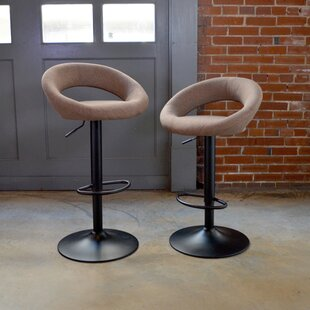 Classic Fabric Adjustable Height Swivel Bar Stool (Set of 2) AmeriHome
