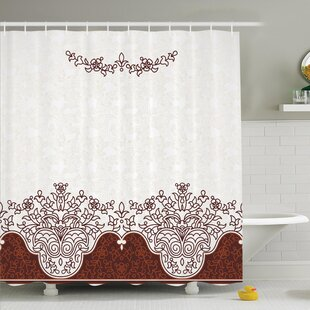 Traditional House Ornate Old Iranian Classical Frieze Figure with Curved Flowers Shower Curtain Set