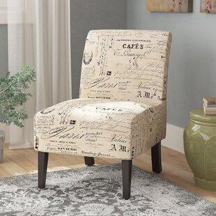 Heliotrope Linen Script Lily Slipper Chair Lark Manor