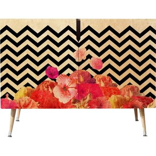 Chevron Floral Accent Cabinet by East Urban Home