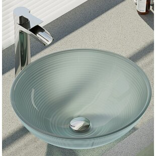 René By Elkay Sparkling Glass Circular Vessel Bathroom Sink With Faucet