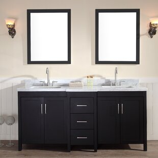 Hollandale 73 Double Sink Vanity Set with Mirrors by Ariel Bath