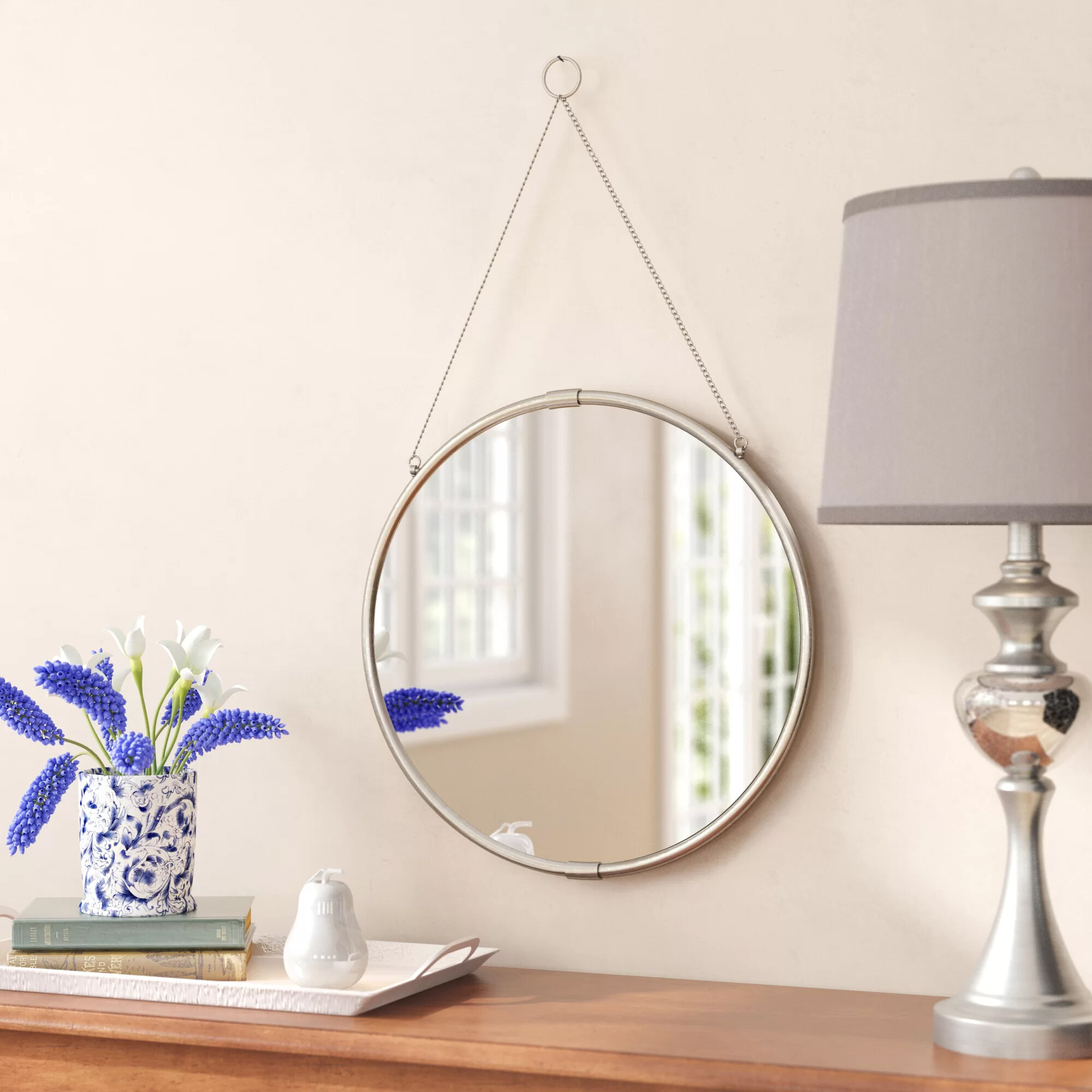 Brea Decorative Round Hanging Modern Contemporary Wall Mirror