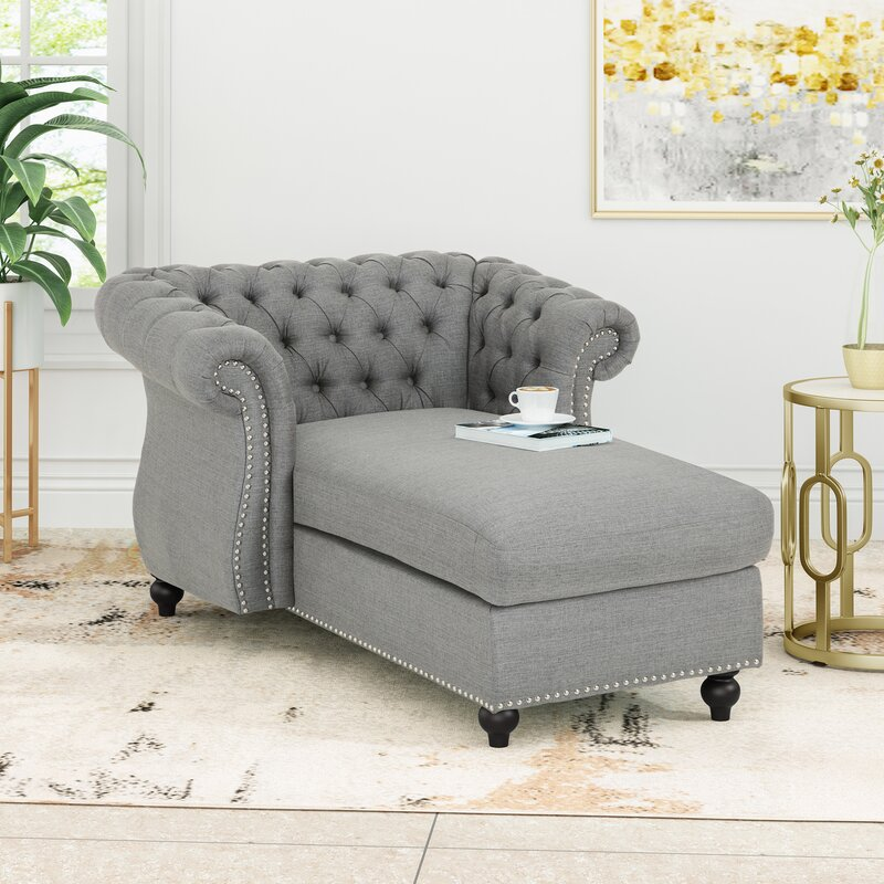 Ophelia & Co. Hankins Modern Glam Chesterfield Chaise Lounge
