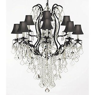 Rosdorf Park Clemence Swarovski Wrought Trimmed 12-Light Shaded Crystal Chandelier