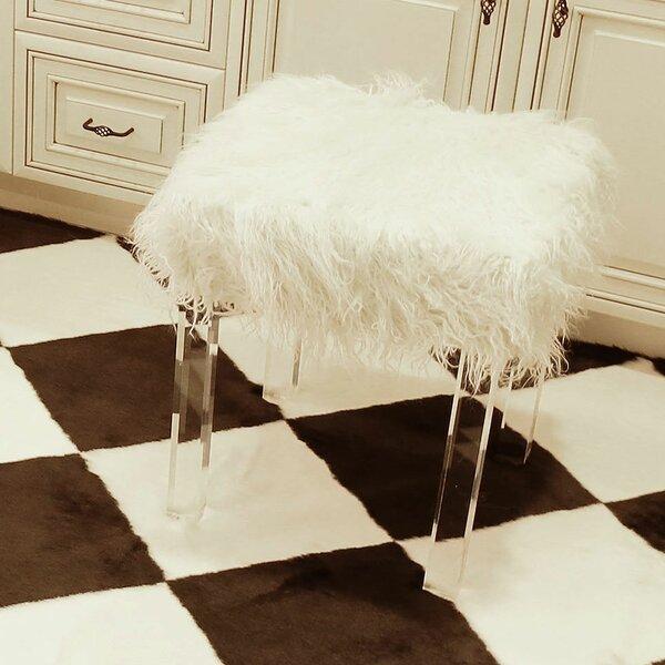 Wondrous White Faux Fur Ottoman Wayfair Andrewgaddart Wooden Chair Designs For Living Room Andrewgaddartcom