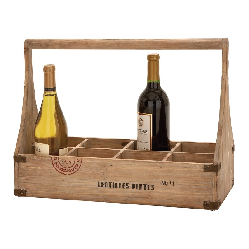 Wood 8 Bottle Tabletop Wine Bottle Rack