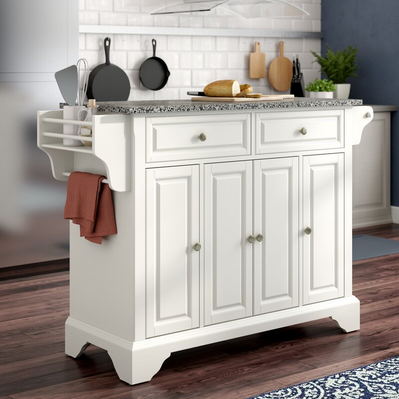 Darby Home Co Abbate Kitchen Island with Granite Top & Reviews | Wayfair