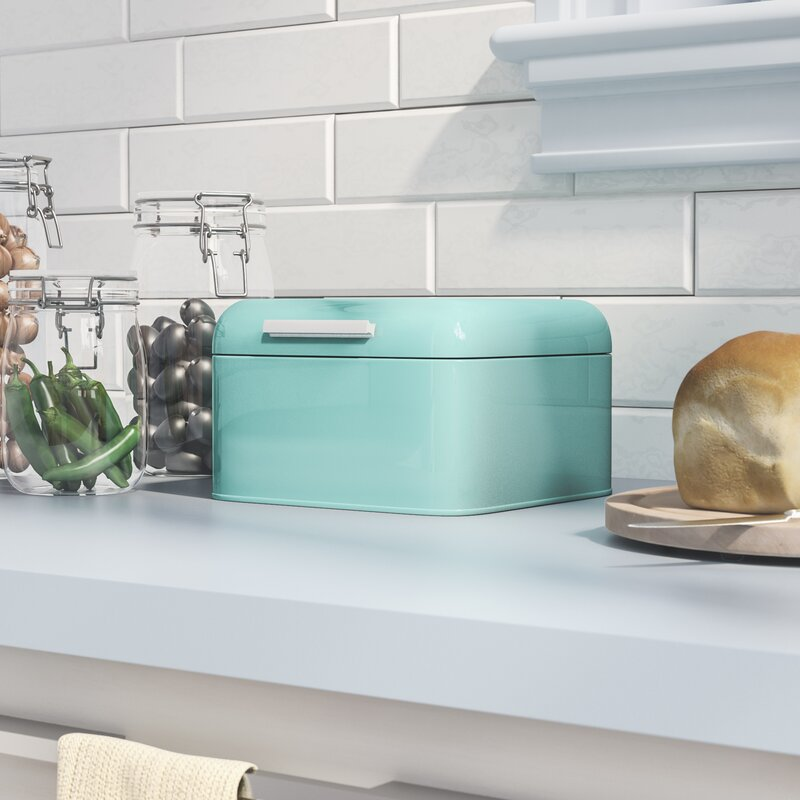 Turquoise Bread Box Enchanting Latitude Run Herrick Bread Box Reviews Wayfair