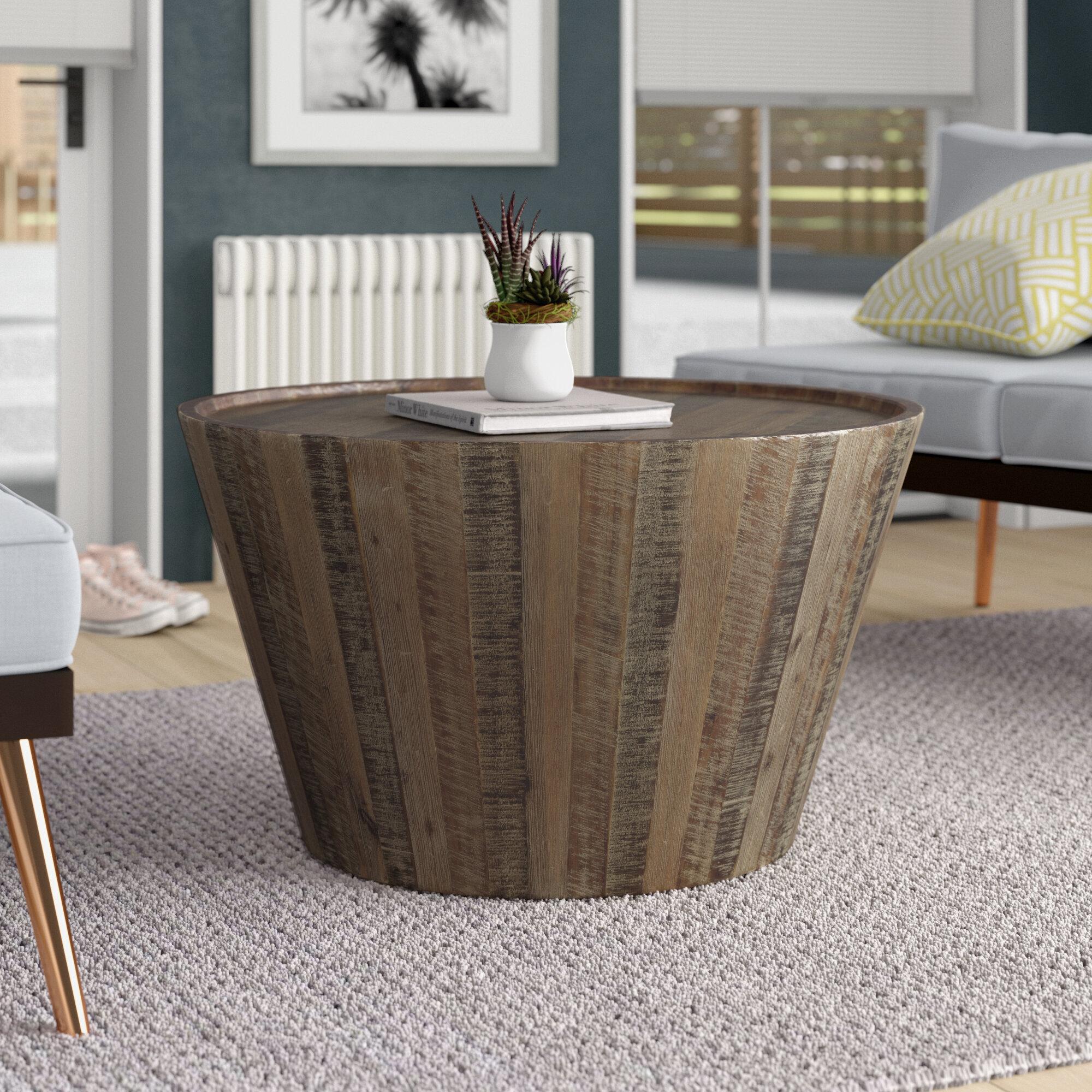 Brayden Studio Limones Solid Wood Drum Coffee Table Reviews Wayfair