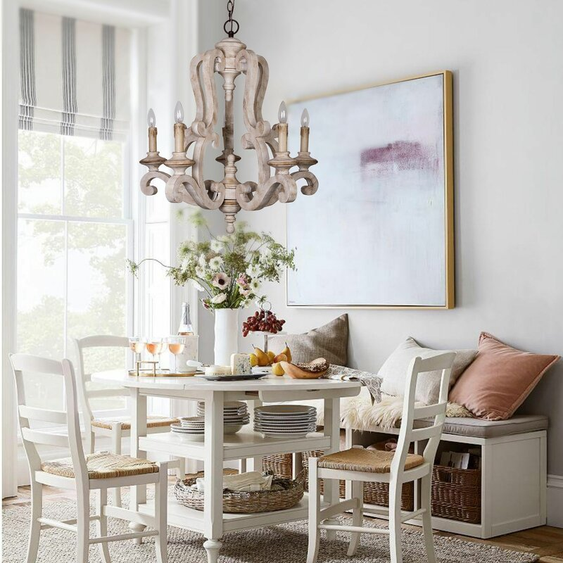 Bella Antique Wooden 6-Light Candle-Style Chandelier - Ophelia & Co. Bella Antique Wooden 6-Light Candle-Style Chandelier