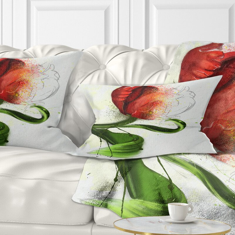 East Urban Home Floral Big Flower With Leaves Lumbar Pillow Wayfair