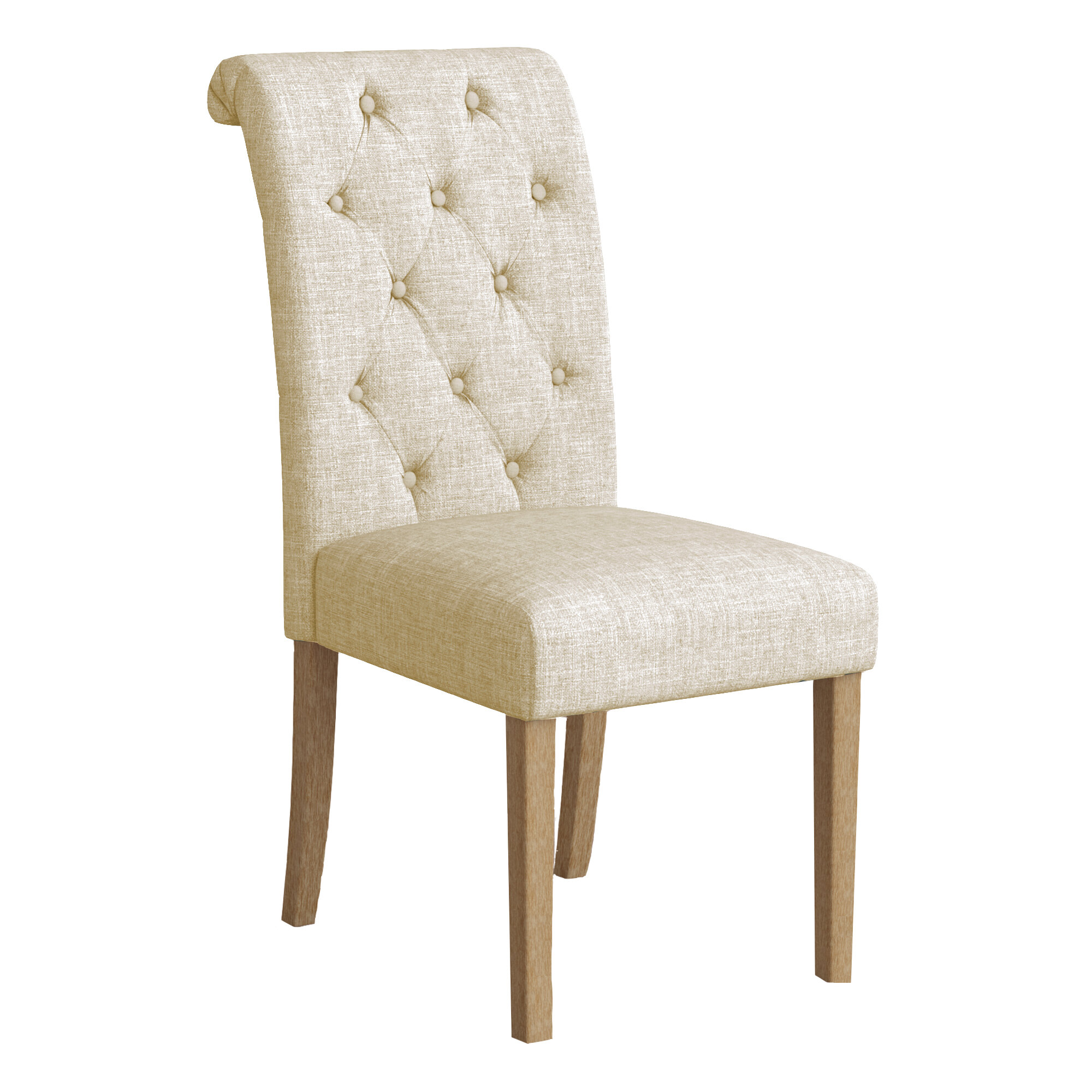 Bungalow Rose Kenleigh Solid Wood Button Tufted Side Chair & Reviews ...