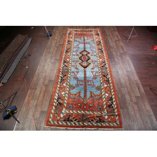 One-of-a-Kind Takengon Heriz Traditional Persian Hand-Knotted 6'11 x 19'2 Wool Orange/Blue Area Rug by Isabelline