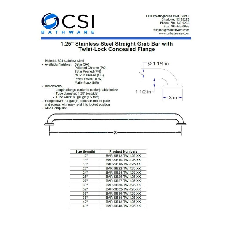 Straight Safety Bar CSI Bathware BAR-SB12-TW-125-PN Stainless Steel 12-Inch Grab Bar Peened Grip Finish Concealed Flanges