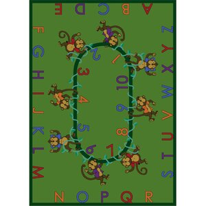 Monkey Business Green Area Rug