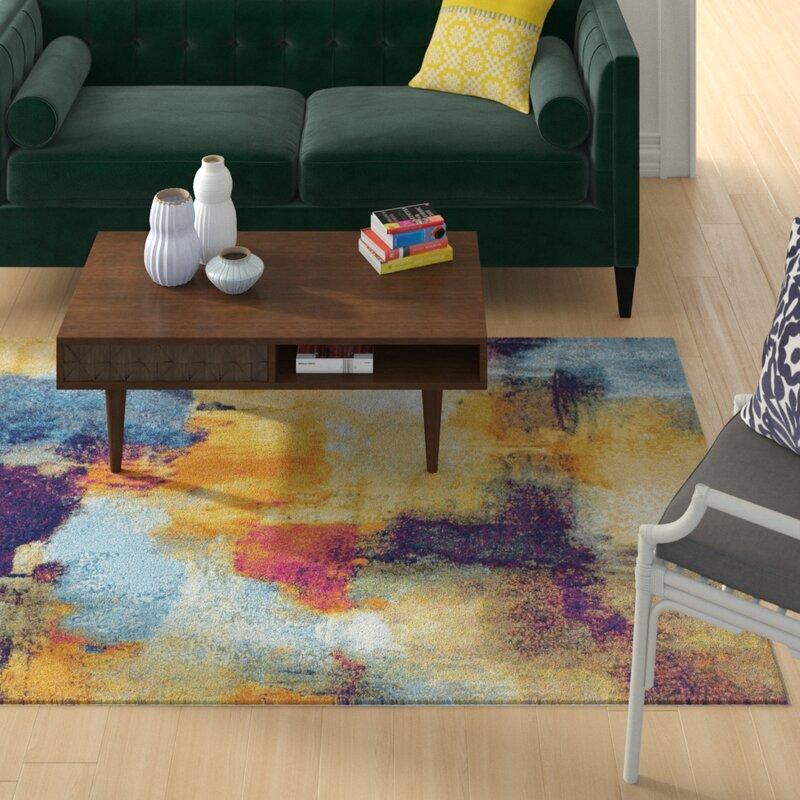 Wrought Studio Reasor Blue/Yellow Area Rug, Size: Runner 26 x 8
