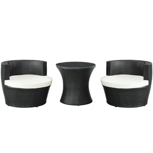 Modway 3 Piece Rattan Conversation Set with Cushions