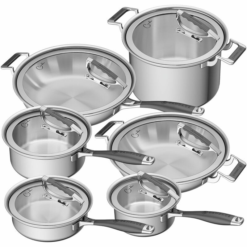 Cookcraft By Candace 12 Piece Stainless Steel Cookware Set Wayfair