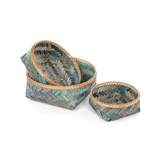 Round Wicker 3 Piece Basket Set By Bay Isle Home