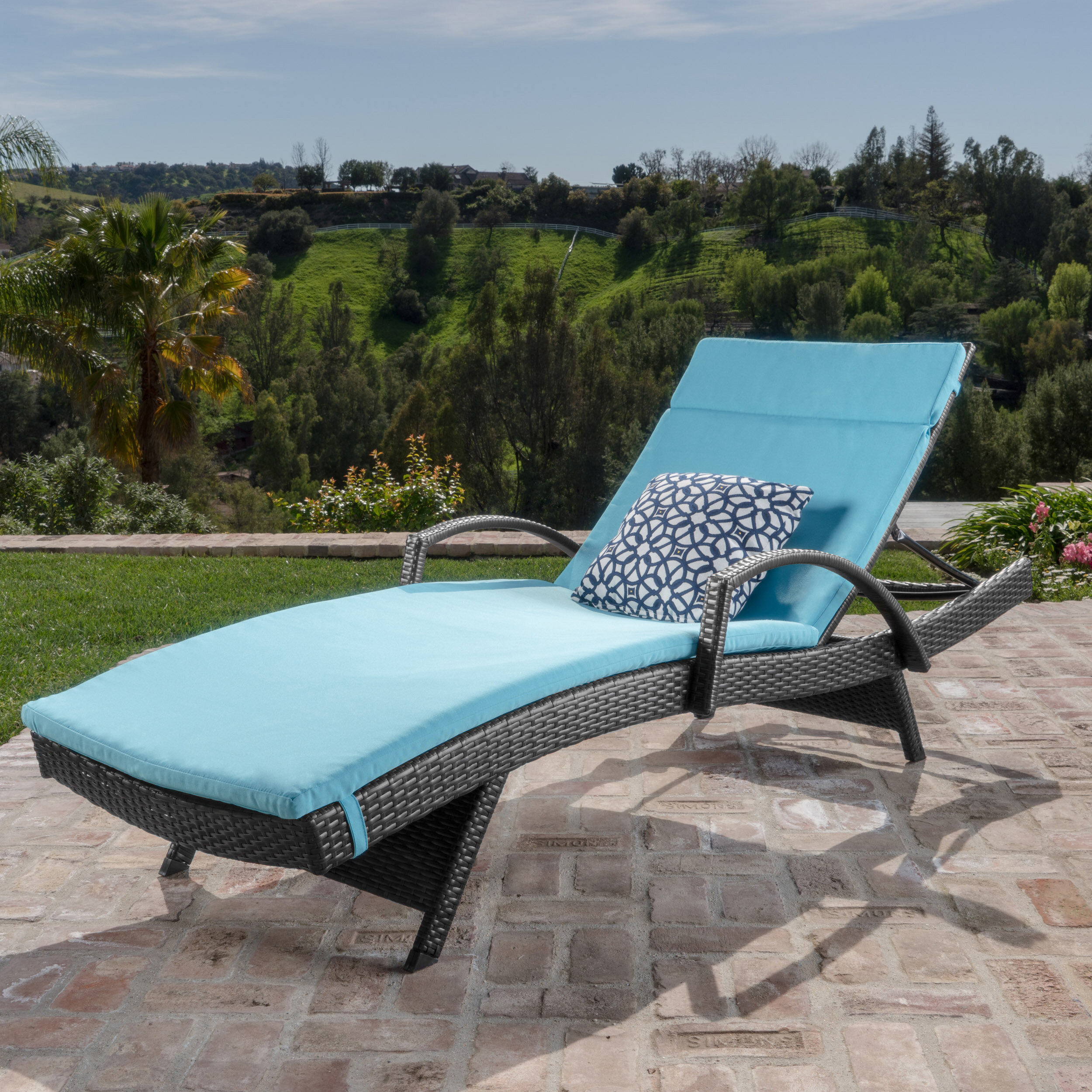 Rebello Outdoor Wicker Armed Chaise Lounge With Cushion