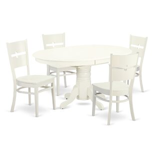 Emmaline 5 Piece Solid Wood Dining Set by Alcott Hill New