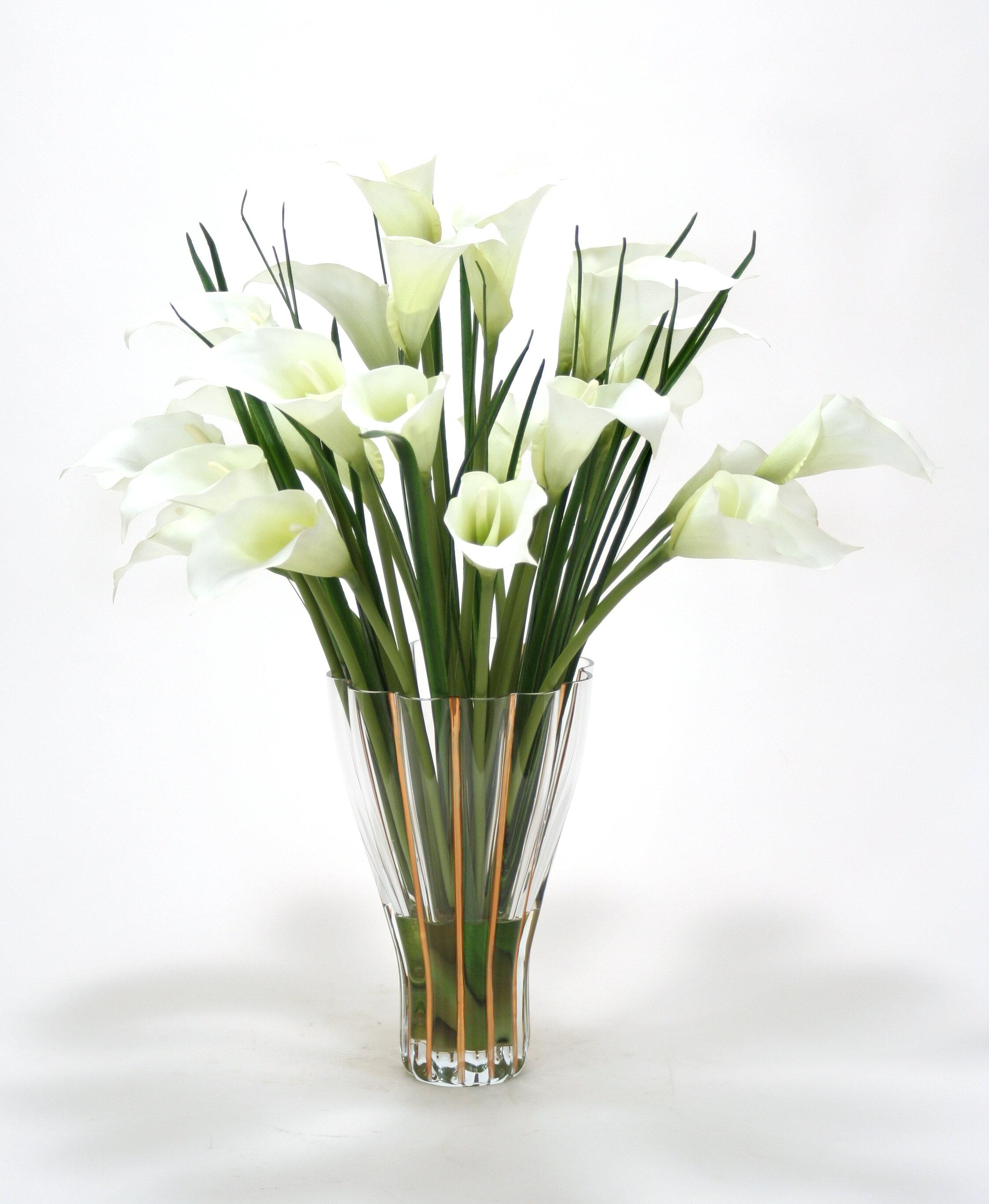 Distinctive Designs White Calla Lilies In Tall Fluted Vase Wayfair