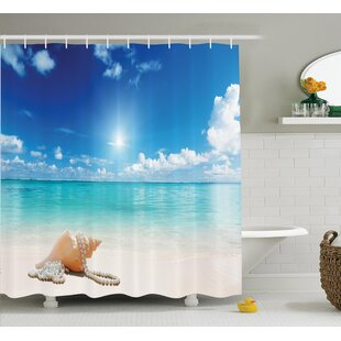 Buying Seashells and Pearls on Sandy Beach Shower Curtain By East Urban Home