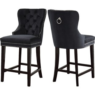 Costigan Velvet 26 Bar Stool (Set Of 2) by DarHome Co Great Reviews