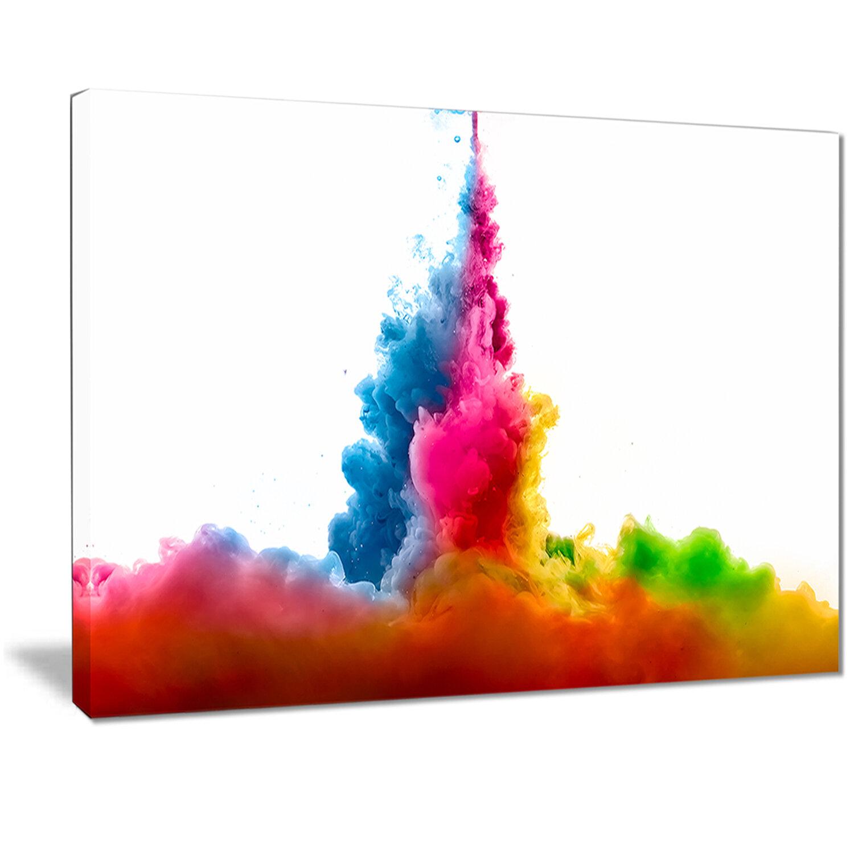 East Urban Home Rainbow Colors Explosion Oil Painting Print On Canvas Wayfair