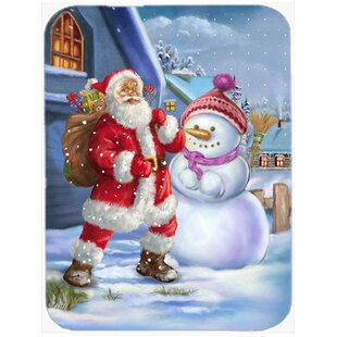 Christmas Santa Claus and Snowman Glass Cutting Board By Caroline's Treasures