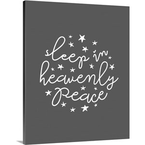 'Sleep in Heavenly Peace Dark Gray' Textual Art on Wrapped Canvas