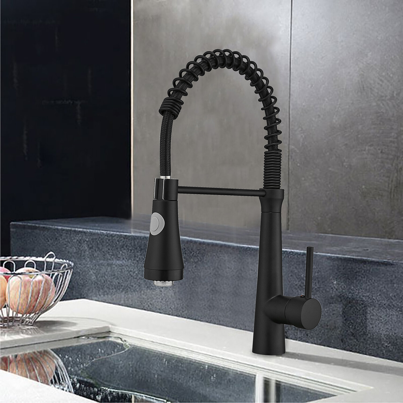Watqen Led Pull Down Single Handle Kitchen Faucet Wayfair