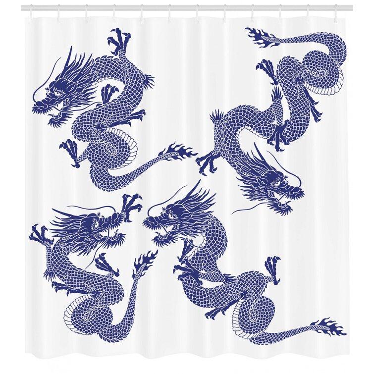 Japanese Dragon Pattern Shower Curtain Fabric Decor Set with Hooks 4 Sizes