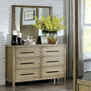 Glynda 6 Drawer Double Dresser with Mirror