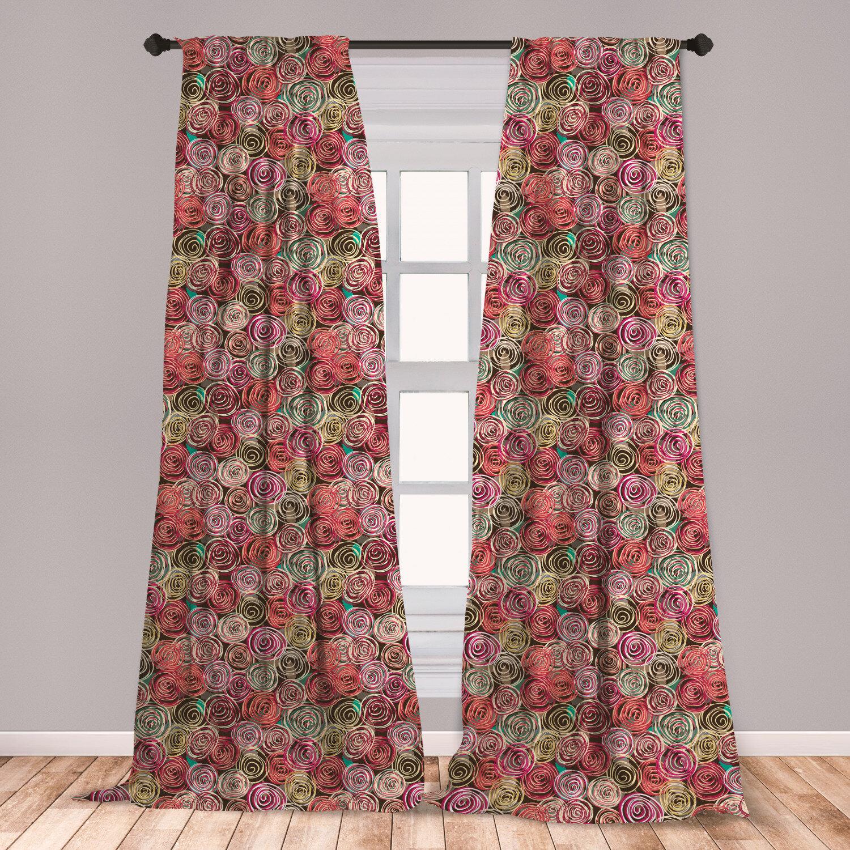 East Urban Home Floral Room Darkening Rod Pocket Curtain Panels Wayfair