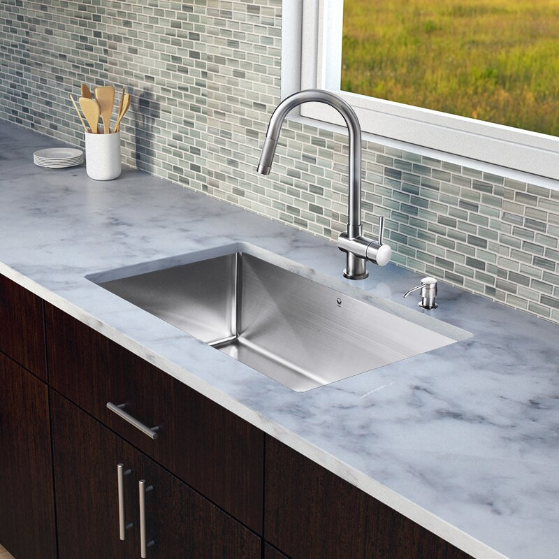 30 Inch Undermount Single Bowl 16 Gauge Stainless Steel Kitchen Sink With  Gramercy Stainless Steel Faucet