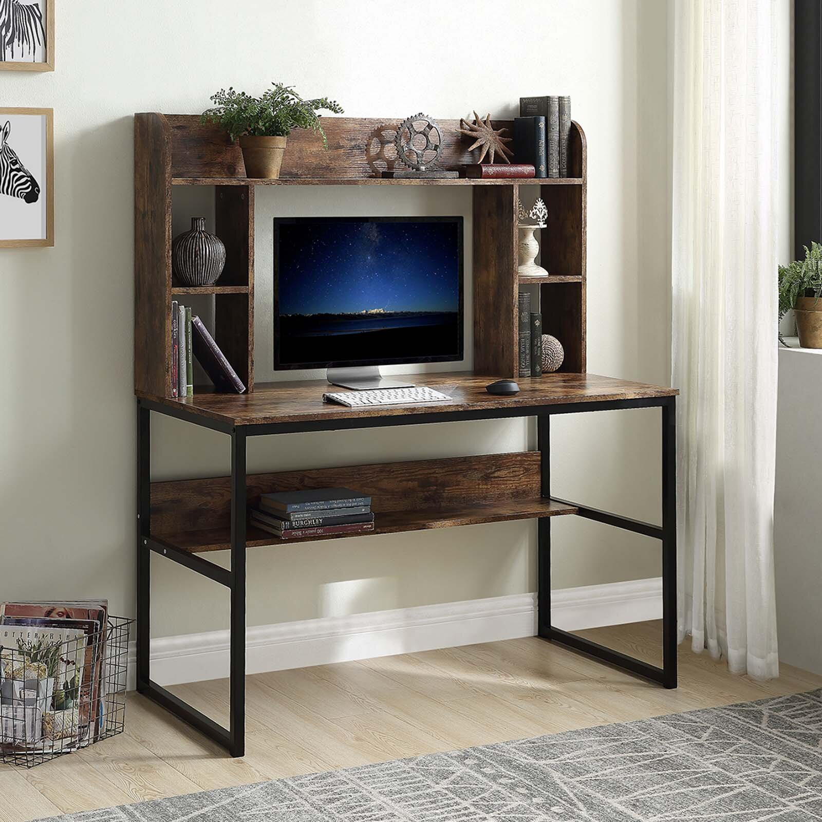 17 Stories Home Office Computer Desk With Hutch 47 Inch Rustic Office Desk And Modern Writing Desk With Storage Shelves Vintage And Black Legs Wayfair